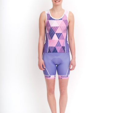 Cycling korte broek & top - Purple Triangle