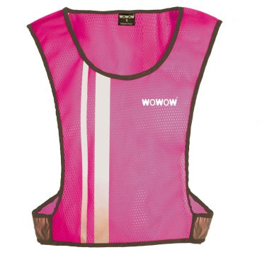 Fluorescent vest. Short, very feminine fluorescent vest with reflective stripes on front, back and sides. For high visibility!